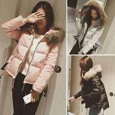New Fashion Women's Down Cotton Casual Slim Fur Collar Coat Hooded Warm Overcoat