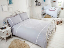 Luxury Duvet Quilt Cover Bedding Bed Set  With Lace Pin tuck Detail All Sizes