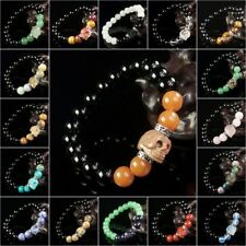 10mm Mix Natural Energy Stone Beads & Hand Carved Skull Charm Stretchy Bracelet