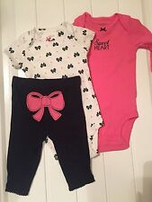 NWT Carter's 3 Piece Set Bodysuits Pant Sweet Heart Bows 3 6 9 12 24 Months New