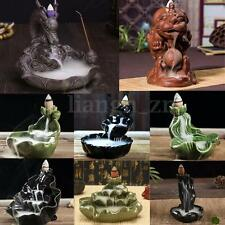 8 Styles Ceramic Glaze Incense Burner Holder Buddhist Cone Smoke Backflow Censer