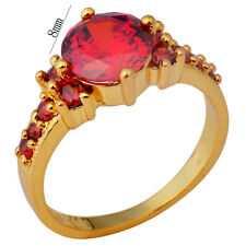 2017 Red Ruby Garnet Wedding Ring 10KT Yellow Gold Filled Gift Size6-10