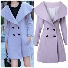 Oversized Collar Purple Wool Blend Double Breasted Coat