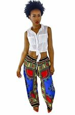 Womens Dashiki Drawstring Waist Trousers Bohemian Wide leg Lounge Pants