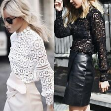 Fashion Womens Sexy Hollow Out Long Sleeve Lace Floral Shirt Blouse Tops T-Shirt