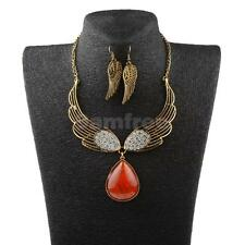 Fashion Lady Angel Wings Diamante Necklace Earring Jewelry Set