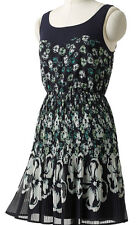 NWT~LAUREN CONRAD Lightweight Floral Accordian-Pleat Chiffon Dress~Navy/Green~ 2