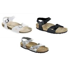 Birkenstock Rio Sandals Birko-Flor - regular or narrow - white black silver