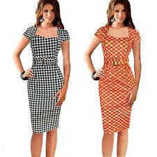 Women Black Short Peplum Plaid Formal Casual Party Bodycon OL Pencil Dress