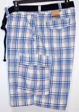 NWT Men's Foundry Belted Cargo Shorts Big & Tall Size 44 50 52 54 Blue Plaid