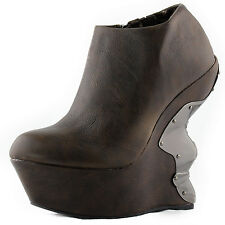 Brown Ankle Boots Platform Side Zipper Metal Plated Wedge High Heel Womens Shoes
