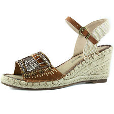 Women's Rhinestone Ankle Strap Peep Toe Comfy Espadrille Wedge Sandal Shoes