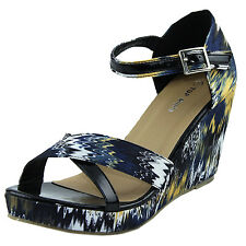 Women Fashion Sandal Cute Wedge Ankle Strap Sandal Tie Dye Print High Heel Shoes