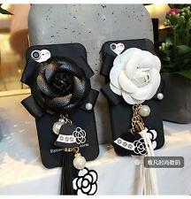 Luxury girly Camellia tassel Ladies Pearl Soft Rubber back cover case for iPhone
