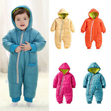Toddler Baby Boy Girl Romper Hooded Bodysuit Play Jumpsuit Clothes Warm Winter