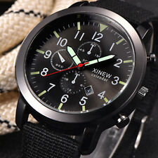 Fashion Men Military Army Black Dial Date Analog Quartz Luxury Sport Wrist Watch