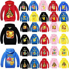 Kids Pokemon Pikachu Hoodies Girls Boys Hooded Tops Sweatshirt Coats Jackets