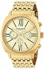 NEW Akribos XXIV AK636YG Men's Retro Swiss Multi-Function Gold-Tone Steel Watch