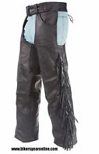 MEN'S MOTORCYCLE BLACK BRAIDED FRINGES LEATHER RIDING CHAP PANTS REMOVABLE LINER