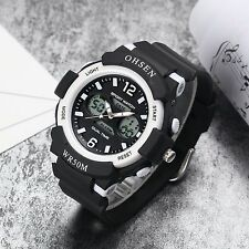 OHSEN Mens Dual Time Sport Digital Alarm Date Quartz Rubber Stopwatch Watchproof