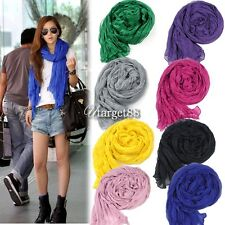 Women's Long Crinkle Scarf Wraps Soft Shawl Pure Color 8 Colors New UTAR