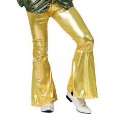 Pn28 Pantalon disco adulte taille 34-36. Deguisement pantalon disco Or pattes el