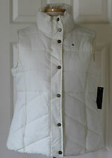 NWT Womens Tommy Hilfiger Logo Classic White Fleece Lined Puffer Vest Coat S L