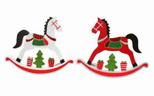 Set of 2 Christmas Rocking Horse Xmas Décor Decoration Red White 17cm & 24cm