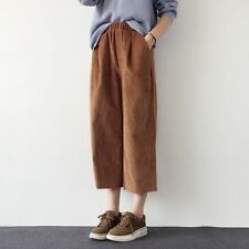 Womens Wide Leg Casual Corduroy Cropped Pants Baggy Loose Trousers High Waist