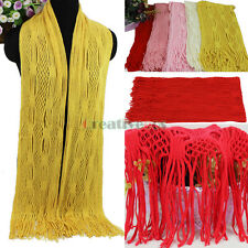 Women Beautiful Solid Color Hollow Out Mesh Tassel Soft Long Knit Wool Scarf New