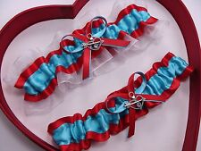 NEW Bride Turquoise Red White Wedding Garter Prom Homecoming GetTheGoodStuff A+