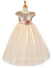 New Flower Girl Sequined Blush Gold Dress Pageant  Easter Christmas Party 2079