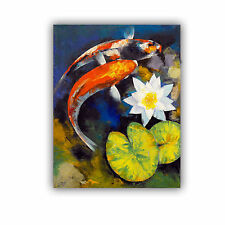 'Koi Fish and Water Lily' Removable Wall Art Mural