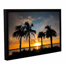 'Tropical Sunset' Gallery Wrapped Floater-framed Canvas