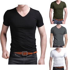 Fashion Mens V-neck Casual T-shirt Solid Shirt Short Sleeve Slim Fit Muscle Tee