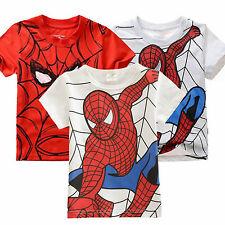 Kids Girls Boys Spiderman Tops Short Sleeve T-Shirts Summer Clothes 2-7 Years