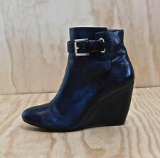 NINE WEST Zapper Black Leather Wedge Heel Ankle Boots Zip Closure Size 6.5M