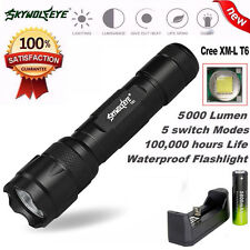 Power 5000LM CREE XML T6 5 Modes LED Flashlight Lamp Torch+18650 Battery+Charger