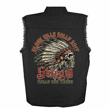 2017 Sturgis Motorcycle Rally INDIAN black Sleeveless Denim Shirt