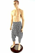 Black & White Checkered Unisex Drop Crotch Harem Pants w/Pockets Made To Order!
