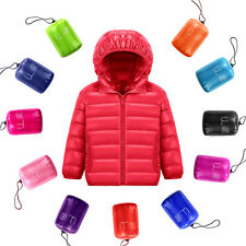 Child Duck Down Hooded Feather Boy Girl Coat Winter Warm Unisex Jacket Packable