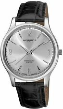 NEW Akribos XXIV AK539SS Mens Stainless Sunray Dial Classy Leather Genuine Watch