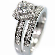 925 Sterling Silver Cubic Zirconia CZ Heart Cut Bridal Engagement Band Ring