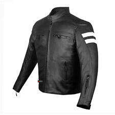 New AXE Men's Leather Jacket Motorcycle Armor biker safety