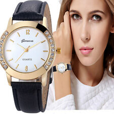 Luxury Geneva Fashion Women Diamond Analog Leather Analog Quartz Wrist Watches
