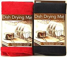 Kitchen Basics Microfiber Dish Drying Mats for Kitchen Red Black Cream 2 pack