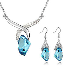 18K White Gold gp Beautiful blue crystal pendant Necklace Earring Set A25B87
