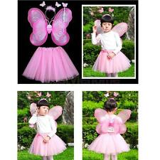 3Pc Girls Fairy Costume Butterfly Wings Wand Princess Headband Hallpween Party