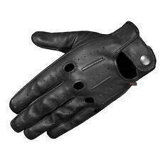 Genuine Lambskin Aniline Leather Driving Gloves Black Touchscreen