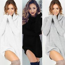 Womens Ladies Chunky Knitted Sweater Long Sleeve Pullover Cowl Neck Jumper Dress